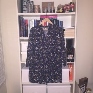 Old Navy Gray Floral Print Dress